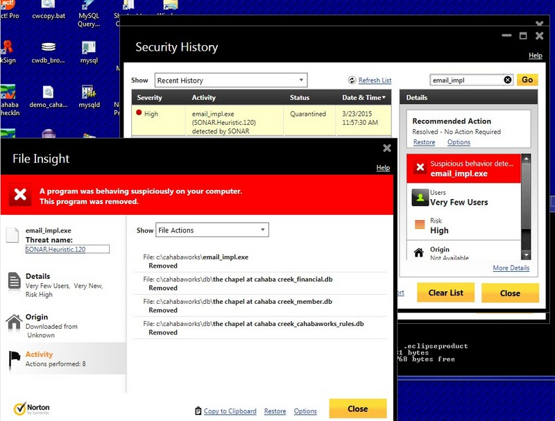 Norton Security History pages: Click Restore to put files back